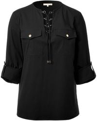 Michael Kors Black Laced Front Shirt - Lyst