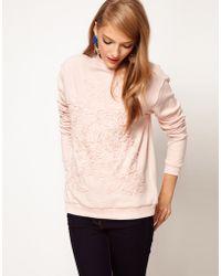 ASOS - Asos Pretty Applique Sweatshirt - Lyst