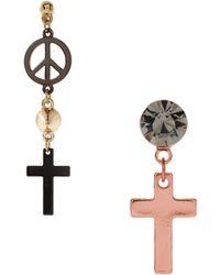 Asos Mismatch Cross Spike Earrings - Lyst