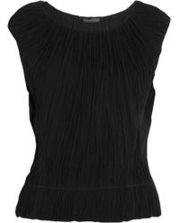 Donna Karan New York Ruched Chiffon and Jersey Top - Lyst