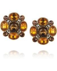 Oscar de la Renta 24karat Gold Plated Crystal Clip Earrings - Lyst