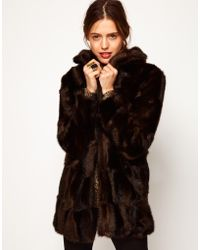 ASOS Collection Asos Premium Chevron Fur Coat - Lyst