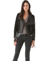 Donna Karan New York Felt Leather Jacket black - Lyst