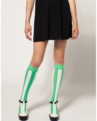House of Holland - For Pretty Polly Exclusive To Asos Green Stripe Socks - Lyst