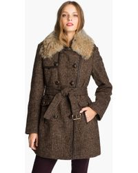Kors by Michael Kors Michael Michael Kors Belted Tweed Coat with Genuine Coyote Fur - Lyst