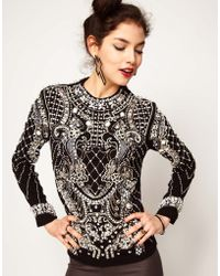 ASOS Collection Asos Top with Pearl Grid Embellished Armour - Lyst