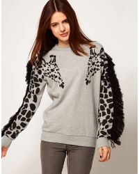 ASOS Collection Asos Sweatshirt with Giraffe and Fringe Sleeves gray - Lyst