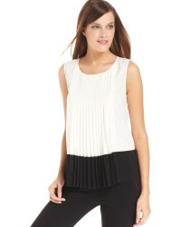 Calvin Klein Sleeveless Colorblock Pleated Top white - Lyst