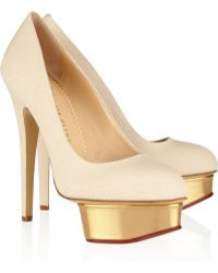 Charlotte Olympia The Dolly Canvas and Leather Platform Pumps - Lyst
