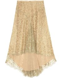 Michael Kors Bead and Sequin Embellished Metallic Lace Skirt - Lyst