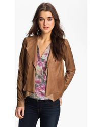 Trouvé Draped Leather Jacket - Lyst