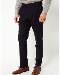 Asos Slim Fit Smart Trousers In Navy - Lyst