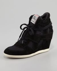 Luxury Rebel - Bowie Suede Canvas Wedge Sneaker Black - Lyst