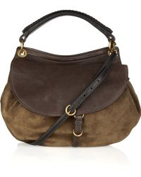 Miu Miu Suede and Leather Shoulder Bag - Lyst