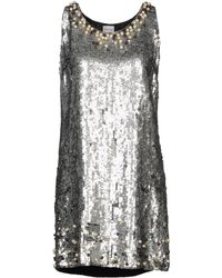 RED Valentino Ruffled Sequined Tulle and Chiffon Dress silver - Lyst