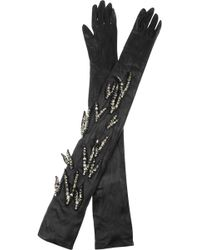 Lanvin Crystalembroidered Long Leather Gloves - Lyst