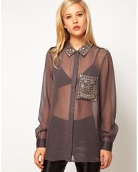 ASOS Collection Asos Shirt with Embellished Collar and Pocket - Lyst