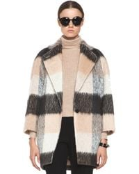 Chloé Check Mohair Coat in Multi gray - Lyst