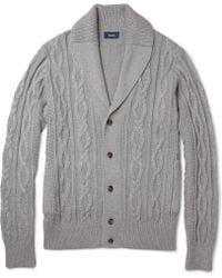 Façonnable | Cableknit Cotton and Cashmereblend Cardigan | Lyst