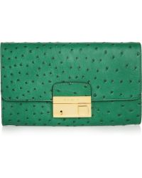 Michael Kors Gia Ostricheffect Leather Clutch - Lyst
