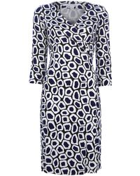Diane Von Furstenberg Patterned Wrap Dress - Lyst