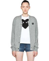 Comme des Garçons Black Heart Emblem Cardigan in Light Grey - Lyst