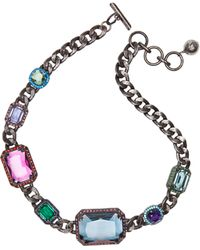 Lanvin Jeweled Choker Necklace in Aged Silver - Lyst