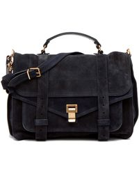 Proenza Schouler Ps1 Large Suede in Navy - Lyst
