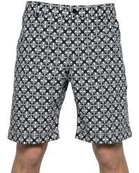 Alexander McQueen Tile Print Cotton Poplin Shorts - Lyst