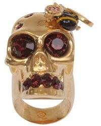 Alexander McQueen Goldred Crystal Bee and Skull Cocktail Ring gold - Lyst