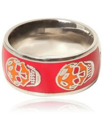 Alexander McQueen Enamel and Brass Skull Ring - Lyst