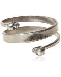 Alexander McQueen Swarovski Twin Skull Brass Bracelet silver - Lyst