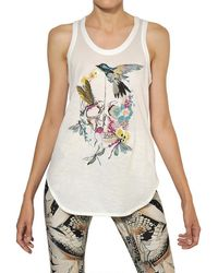 Alexander McQueen Embroidered Cotton Jersey Tank Top - Lyst