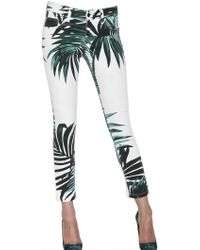 American Retro Palm Print Cotton Stretch Denim Jeans - Lyst