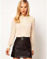 ASOS Collection Asos Blouse with Lace Trims and Delicate Pintucks - Lyst
