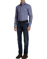 Barneys New York Spread Collar Flannel Shirt - Lyst