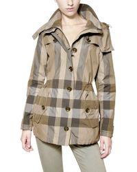 Burberry Brit - Checked Nylon Parka Jacket - Lyst
