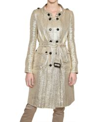 Burberry Prorsum Gold Lurex Techno Linen Trench Coat - Lyst