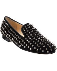 Christian Louboutin Rolling Spikes Flat black - Lyst