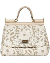 Dolce & Gabbana Medium Miss Sicily Macrame On Linen Bag - Lyst