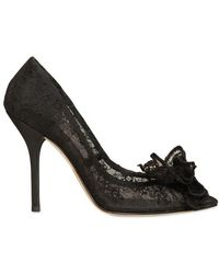 Dolce & Gabbana 110mm Chantilly Lace Bow Pumps - Lyst