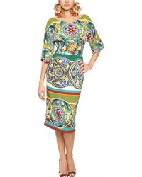 Dolce & Gabbana Plates Printed Viscose Cady Dress - Lyst