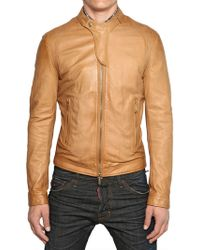 DSquared2 Soft Nappa Biker Leather Jacket - Lyst