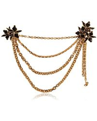 DSquared2 Enameled Orchid Brass Chain Pin - Lyst