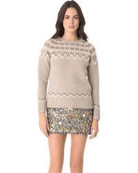 Gryphon - Fair Isle Crew Neck Sweater - Lyst