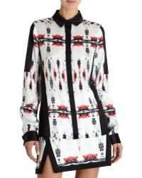 Icb Mirrorred Ink Blot Print Button Shirt - Lyst