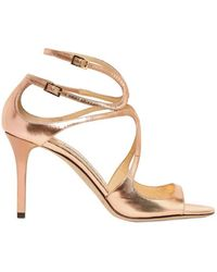 Jimmy Choo 85mm Yvette Mirror Leather Sandals gold - Lyst