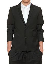 Kris Van Assche Wool Mohair Twill Cotton Jersey Jacket black - Lyst