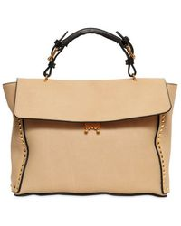 Marni Studded Brushed Leather Top Handle - Lyst