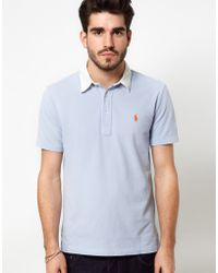 Polo Ralph Lauren Polo Shirt in Blue with White Contrast Collar - Lyst